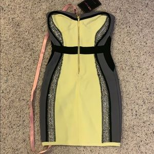 House of CB yellow bandage dress